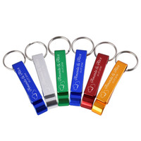 Wholesale opener key chain - 50pcs Personalized Engraved Bottle Opener Key Chain Wedding Favors Brewery, Hotel, Restaurant, B Customized
