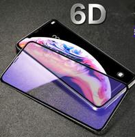 vidrio templado azul al por mayor-Película protectora de cristal templado Blu-ray de pantalla completa Película protectora para teléfono móvil Blu-ray anti violeta para iphone xs max