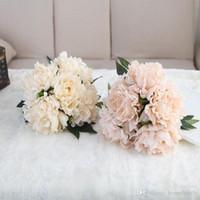 corsages poignets violets achat en gros de-En gros Artificielle Hortensia Fleur Faux Fleurs De Soie Pour Le Mariage Pièces maîtresses Home Party Fleurs Décoratives 7 Couleurs Mixtes 19 * 27CM