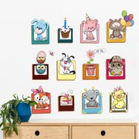 molduras para creche venda por atacado-DIY 3D animal dos desenhos animados Adesivos de parede Home decor Bonito Photo Frame Adesivos de parede presente criativo Crianças sala de estar Decoração do berçário