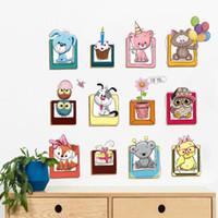 bilderrahmen für kindergarten großhandel-DIY 3D cartoon tier wandaufkleber wohnkultur Nette Bilderrahmen Wandaufkleber kreative geschenk Kinder wohnzimmer Kinderzimmer dekoration