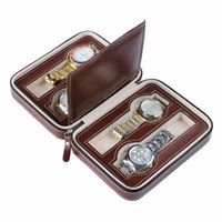 Wholesale Zipper Watch - Simple 8-seat zipper watch jewelry storage package PU portable travel collection props table watch box CHOONICE