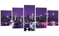 Wholesale purple picture frames - Amosi Art 5 Panels Canvas Wall Art Purple Night View of City Beautiful Landscape Canvas Painting for Home Decorations Ready to Hang