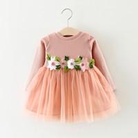 зимние платья для девочек оптовых-2018 Autumn Winter Baby Girls Dress Long Sleeve Flowers Fairy Mesh Cute Toddler Baby Dress Children Kids Girls Princess