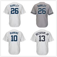 Wholesale Eli Manning Jersey Xxl - Baseball New York NYK Jersey 10 Eli Manning 26 Saquon Barkley 13 Odell Beckham Jr. Jerseys Cool Base Home Away White Pinstripe Men Women Kid