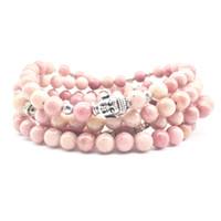 Wholesale SN1380 Fashion Women s Bracelet Yoga Mala Balance Bracelet mm Rhodonite Stone Jewelry Trendy Buddha Head Necklace