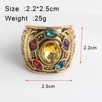 ingrosso gli anelli di infinito di cristallo-SC Movie I 3 Infinity War Thanos Infinity stones Anelli oro Thanos Infiniter Power Gauntlet Crystal Cosplay Ring Uomo