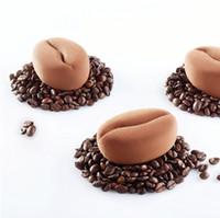 fasulye çikolata toptan satış-Çevre dostu Noel Ekmek 1 Adet Silikon Mousse Kek için 12 Kavite Kahve Çekirdekleri Tasarım Kalıp Çikolata Ekmek Dekorasyon Araçları