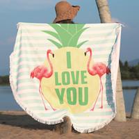 Wholesale yoga mats designs resale online - 2019 New Designs Flamingo Beach Towel Blanket Yoga Mat Rug Towels Colors cm Pool Micropore Fiber cushion Sunscreen shawl loop Towel