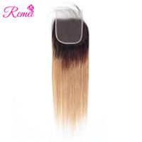 ombre insan saç kısmı toptan satış-Rcmei Ombre Saç 1B / 27 Düz Brezilyalı 4 * 4 Ücretsiz bölüm Dantel Kapatma Bebek Saç Öncesi renkli İnsan Saç Üst Clousre Ile Ücretsiz Kargo