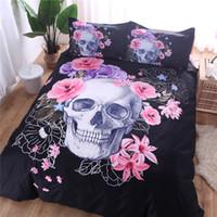 Wholesale blue floral duvet cover - Pink Floral Skull Bedding Set 3D Duvet Cover Set Single Queen King 2 3pcs Bedclothes Bed Linen
