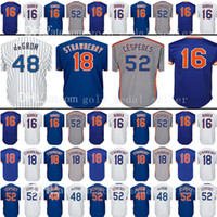 Wholesale Purple Strawberries - Embroidery Logos mens 52 Cespedes Majestic 48 Jacob deGrom Jersey 16 Dwight Gooden 18 Darryl Strawberry Baseball Jerseys size m-xxxl