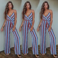 7c0771788600 Women Lady Playsuit Bodycon Sleeveless Striped Top Jumpsuit Romper Trousers Plus  Size bodysuits Overalls for women
