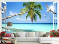 смотреть в прямом эфире оптовых-индивидуальные обои для стен Window View Beach Coco 3D TV Фоновые обои для гостиной