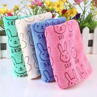 ingrosso asciugamani gialli chiari-50 x 25 cm Simpatici bambini Cartoon Animal Coniglio Rosa Blu Giallo chiaro GreenLetter Asciugamano stampato Prodotti da bagno doccia confortevoli