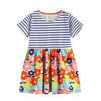 европейский стиль полосатые шорты оптовых-2019 бутик Европейский и американский стиль цветочные платья для девочек полосатый с коротким рукавом цветы печати 100% хлопок Оптовая Детская одежда 18 м-6 т