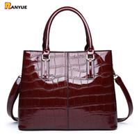 черная кожаная сумка плеча оптовых-Red Black Patent Leather Handbag  Crocodile Tote Bag Shoulder Bags Handbags Women Famous Brands Designer Sac a Main Femme