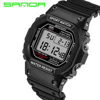 спортивные силиконовые часы для мужчин оптовых-Sanda Sport Watches for Men Silicone Strap Led Digital Watch Men 2017 Waterproof  Quartz Watch Relogios Masculinos