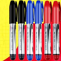 marqueurs d'esquisse achat en gros de-Tache marqueur marqueur huile grande tête stylo classique noir rouge bleu fabricant d'encre stylo pour bureau étudiants entrepôt écriture papeterie