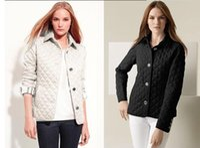 Wholesale Long Women British Coat - Wholesale- New Women Jacket Winter Autumn Coat Brand Design fashion cotton Slim Jacket British Style Plaid Quilting Padded Parkas