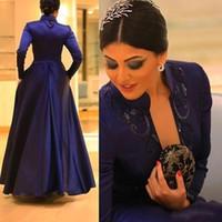 kleid royal dunkel großhandel-Nach Maß 2018 anständige Pailletten Abendkleider Stehkragen Langarm Dark Royal Blue Bodenlangen Charming Abendkleider Prom Kleider