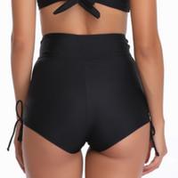 ingrosso capi di abbigliamento da nuoto nero-Costumi da bagno Sexy Bikini Bottom Solid Brasiliano Bottoms Swim Briefs Costumi da bagno Femminile Nero Vita alta Bikini parte de abajo