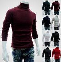 Männer Pullover Turtle Neck Pullover Shirt mit langen Ärmeln Solid Color Slim Pullover Shirts Multicolor Knit Shirts Herren Kleidung Herbst Winter