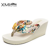 Wholesale sandals 7cm heel - XMISTUO Increased 7cm Large size fashion flip flops slope with thick crust female minimalist resort beach sandals and slippers
