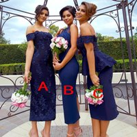 Wholesale tea length sequin bridesmaid dresses - Hot Sell Navy Blue Short Sheath Bridesmaid Dresses 2018 Mermaid Appliques Sequins Tea Length Maid of Honor Gowns Custom Made
