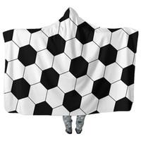Wholesale cosplay cloak hoodies for sale - Baseball Football Sherpa Towel Fleece Blanket Sports Hooded Cape Beach Batch Towels COSPLAY Cloaks Unisex Hoodie Swadding Blankets Fashion