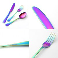 Wholesale lucky spoon for sale - Group buy Dinnerware Sets Tableware Three Piece Gold Plated Stainless Steel Knife Fork Spoon Scoop Hotel Gifts Rainbow Color wl V
