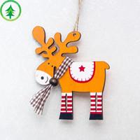 ingrosso pittura d'alce-Moda Dropship Decorazioni per alberi di Natale Decorazioni in legno con ciondoli in alce dipinti a mano Decorazioni natalizie per cervi Decorazioni natalizie per la casa 10 * 9 cm