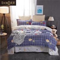 blaue plaid bettbezüge großhandel-Bonenjoy Queen Bedding Set König Größe Blau Plaid Bettdecke Cartoon Seestern Printed Bettbezug Bettwäsche Bettwäsche-Sets für Kinder