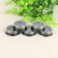 winzigen gläsern behälter groihandel-3G 3ML Runde Schwarze Lidschattengläser mit Schraubdeckel 3 Gramm Kosmetikbehälter Probengläser Tiny Makeup Sample Containers 0353