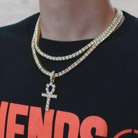 gold kettenkreuz anhänger großhandel-Hip Hop Gold Kreuz Anhänger Halskette für Männer Schmuck mit vergoldeten Tennis Kette Crtoss Halskette Schmuck