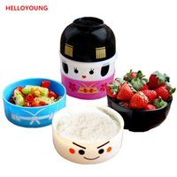 Wholesale dinnerware set cartoon for sale - Group buy Japanese style cartoon bento box round festive plastic lunchbox Dinnerware Sets Meal Box microwaveable tableware suit Promotion New