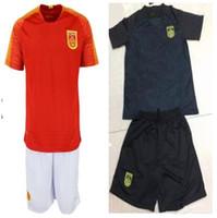 trikots setzt porzellan großhandel-New 2018 China Nationalmannschaft Fußball Jersey Heim Auswärts Evergrande Heim Auswärts 18 19 Soccer Suit Set