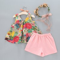 Wholesale Girls Boutique Outfits - Free shipping 2018 2pcs set girl's outfits Girls floral tank vest tops+shorts children bowknot suit kids summer boutique clothes