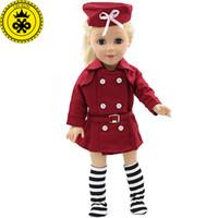 kırmızı şapka giysileri toptan satış-Amerikan Kız Bebekler 18 Inç Bebek Giyim Kırmızı Hostes Iş Kıyafetleri Şapka Bebek Elbise Seti Bebek Elbise MG-064