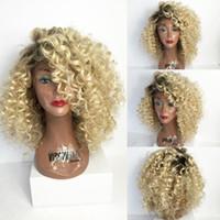 remy haare 14 großhandel-Curly Omber Blonde volle Spitze-Menschenhaar-Perücken # 1B # 613 Brasilianische Nicht-Remy Ombre lockige Spitze-Front-Menschenhaar mit dem Baby-Haar
