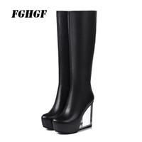 unsichtbare keile großhandel-Mode unsichtbare Keil Vollleder hohe Stiefel Super High Heel Lederstiefel für Frauen 2018 neue Herbst und Winter Boots33-41