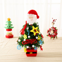 Christmas Artificial Pendant Flocking Santa Claus Tree With LED Multicolor Lights Holiday Window Room Decoration 40cm