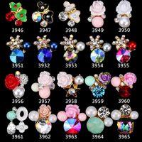Wholesale 3d nail art pearls - 3D Gem Stone Nail Jewelry Elegant 3D Flower 100Pcs Nail Charms Pearl Crystal Nail Art Decorations Glitter Rhinestones 3946-3965