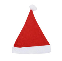 Wholesale santa hats for kids - Red Santa Claus Hat Ultra Soft Plush Christmas Cosplay Hats Decoration Christmas Party Cap For Adults And Kids DDA693