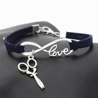 ciseaux d'amour achat en gros de-Bohemia Vintage Dark Navy Leather Suede Bracelets Argent Infinity Love ciseaux Charme Pendentif Bracelet pour Femmes Hommes Partie De Mariage Accessoires