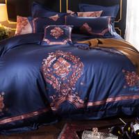 ingrosso letti orientali-Blu lusso europeo classico orientale ricamo biancheria da letto in cotone egiziano set copripiumino biancheria da letto lenzuola federa 4 / 7pcs