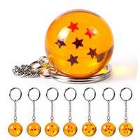Wholesale balls keychain online - 4cm Dragon Ball Stars Crystal Balls Keychain Pendant PVC Action Figure for childrens Christams gift GGA401