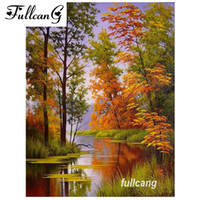 Wholesale FULLCANG diamond embroidery natural scenery river diy d diamond painting cross stitch full square drill mosaic kits D661
