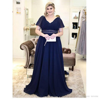 Wholesale lace up corset formal dresses for sale - Group buy Navy Blue Plus Size A Line Chiffon Mother of the Bride Dresses V Neck Short Sleeve bandage corset Long Women s formal evening gowns