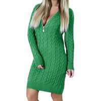 blusas de pescoço zip venda por atacado-Tricô 2017 Outono Inverno Camisola Vestido Sexy V Pescoço Zipper Vestidos Quentes Bodycon Mini Vestidos Moda Zip-up Mulheres Vestido Novo GV101